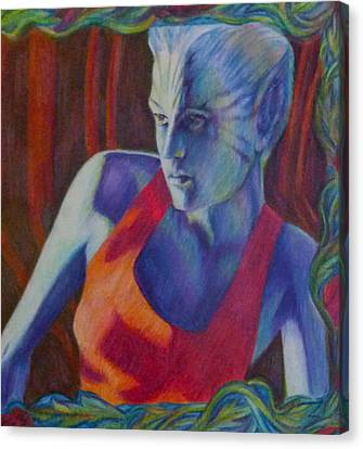 Canvas Print featuring the painting Alien Beauty by Suzanne Silvir