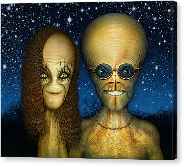 Alien Couple Canvas Print by James Larkin