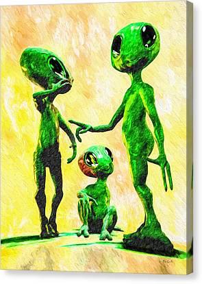 Alien Family Unit Canvas Print