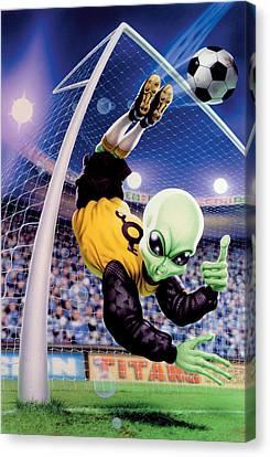 Goalkeeper Canvas Print - Alien Goal Keeper by Steve Read