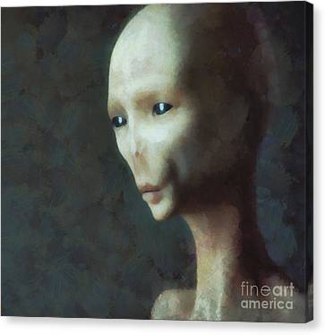 Alien Grey Thoughtful  Canvas Print