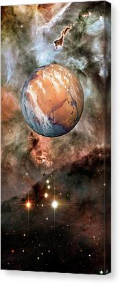 Carina Nebula Canvas Print - Alien Planet And Carina Nebula by Detlev Van Ravenswaay