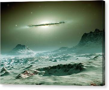 Alien Planet Canvas Print - Alien Planet And Galaxy by Detlev Van Ravenswaay