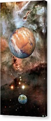 Carina Nebula Canvas Print - Alien Planets And Carina Nebula by Detlev Van Ravenswaay