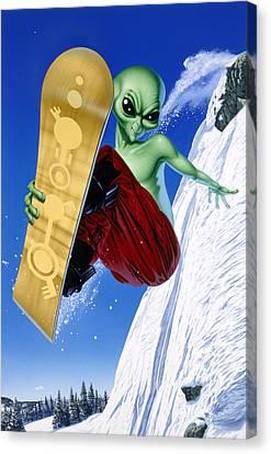 Snowboarding Canvas Print - Alien Snowboarder by Steve Read