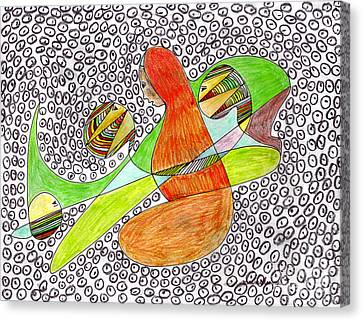 Canvas Print featuring the drawing Alien Women Teleportation by Mukta Gupta