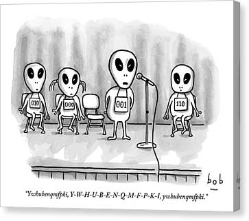Travel Canvas Print - Aliens Participating In A Spelling Bee by Bob Eckstein