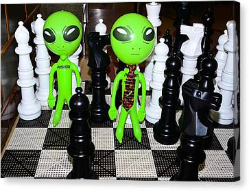 Aliens Playing Chess Canvas Print