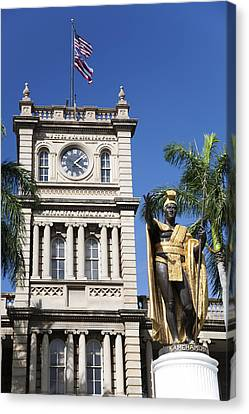 Aliiolani Hale And Kamehameha Canvas Print by Brandon Tabiolo