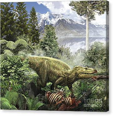 Alioramus Feediing On The Carcass Canvas Print by Jan Sovak