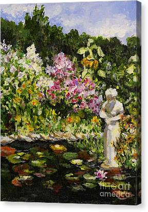 Canvas Print featuring the painting Alisons Water Garden by Alison Caltrider