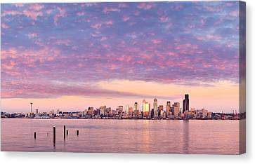 Alki Beach Pink Sunset Canvas Print