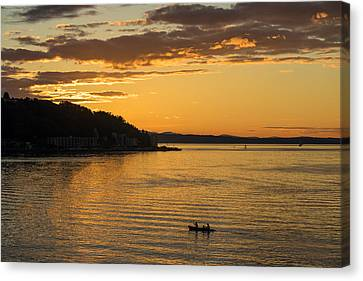 Alki Sunset Waters Canvas Print by Mike Reid