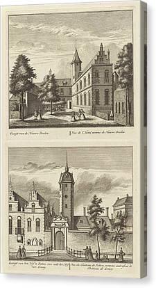 Alkmaar With Nieuwe Doelen And The Hof Van Sonoy Canvas Print by Leonard Schenk And Abraham Rademaker