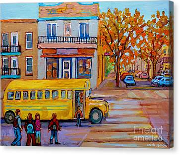 All Aboard The School Bus Montreal Street Scene Canvas Print by Carole Spandau
