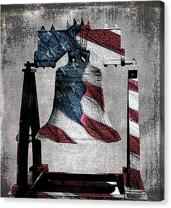 All American Liberty Bell Art_denim Canvas Print