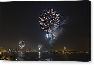 All At Once San Diego Fireworks Canvas Print by Scott Campbell