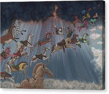 Sun Rays Canvas Print - All Good Horses Go To Heaven by Holly Wood