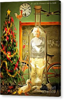 All I Want For Christmas Is Time In A Bottle 20140923 Canvas Print by Wingsdomain Art and Photography
