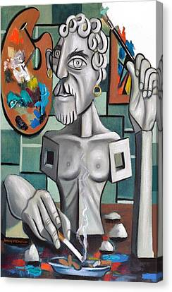 All In A Days Work Self Portrait Canvas Print by Anthony Falbo