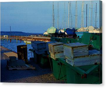 All Packed And Ready To Go...lakeshore Loading Docks And Marina Canvas Print
