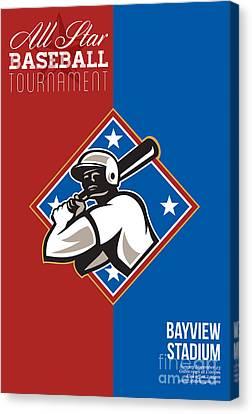 All Star Baseball Tournament Retro Poster Canvas Print by Aloysius Patrimonio