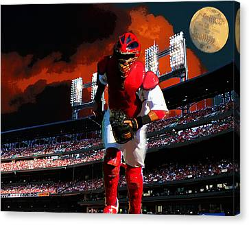 Canvas Print featuring the photograph All Star Yadier Molina by John Freidenberg