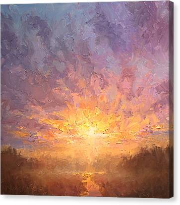 Impressionistic Sunrise Landscape Painting Canvas Print by Karen Whitworth