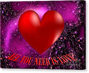 Purple Canvas Print - All You Need Is Love by Rob Hawkins