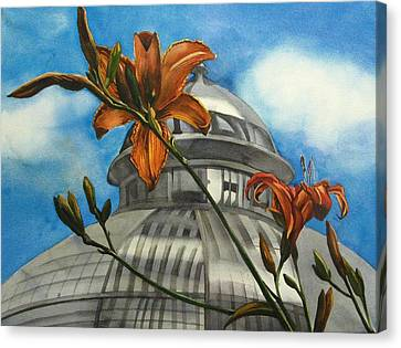 Canvas Print featuring the painting Allan Garden With Daylilies by Alfred Ng