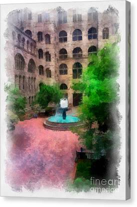 Allegheny County Courthouse Courtyard Canvas Print by Amy Cicconi