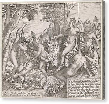 Allegorical Cartoon Which The Personifications Of Truth Canvas Print