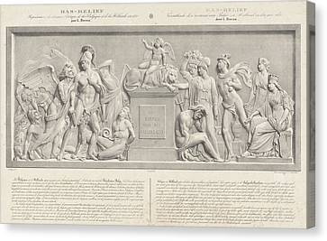 Allegorical Sculpture, The Belgian Revolution In 1830 Canvas Print by Carel Christiaan Anthony Last And Desguerrois Co.