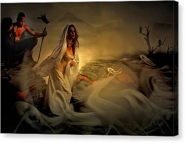 Canvas Print featuring the digital art Allegory Fantasy Art by Galen Valle