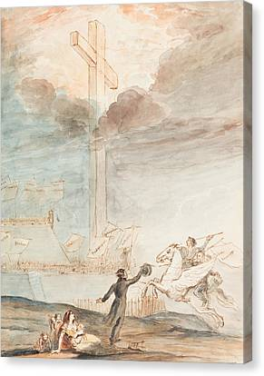 Allegory   Knowledge Versus Orthodox Religion Canvas Print by Auguste Hervieu