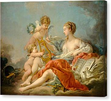 Allegory Of Music Canvas Print by Francois Boucher