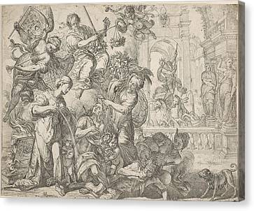 Allegory Of Peace, Remoldus Eynhoudts, Peter Paul Rubens Canvas Print by Remoldus Eynhoudts And Peter Paul Rubens