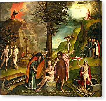 Allegory Of The Old And New Testaments, Early 1530s Oil On Panel Canvas Print by Hans Holbein the Younger