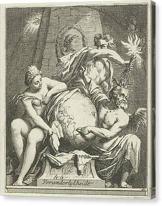 Allegory Of Variability, Arnold Houbraken Canvas Print by Arnold Houbraken