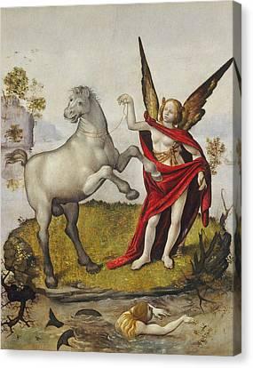 Winged Female Canvas Print - Allegory by Piero di Cosimo