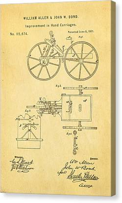 Allen And Bond Hand Carriage Patent Art 1871 Canvas Print by Ian Monk
