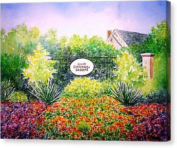 Canvas Print featuring the painting Allen Gardens by Thomas Kuchenbecker