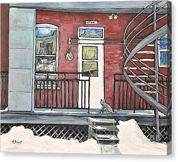 Alley Cat In Verdun Canvas Print by Reb Frost
