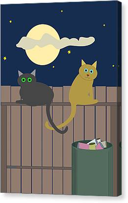 Alley Cats On A Fence Canvas Print
