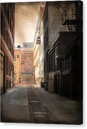 Fire Escape Canvas Print - Alley Front Street And Grunge Border by Anita Burgermeister