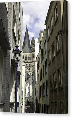 Prussian Blue Canvas Print - Alley In Cologne Germany by Teresa Mucha