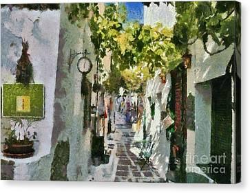 Islands Canvas Print - Alley In Ios Town by George Atsametakis