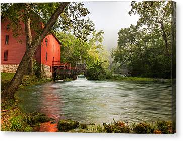 Alley Spring Grist Mill Waterfall And Lake Canvas Print by Gregory Ballos