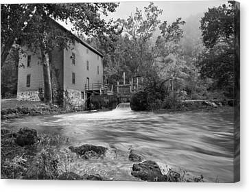 Alley Spring Mill - Black And White Canvas Print by Gregory Ballos