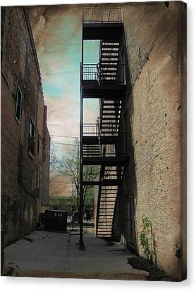 Fire Escape Canvas Print - Alley With Fire Escape And Grunge Border 1 by Anita Burgermeister